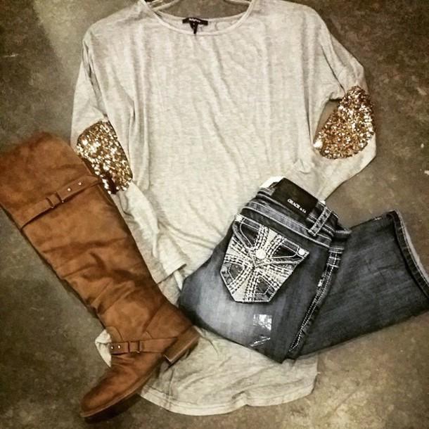 shirt gold sequins long sleeves