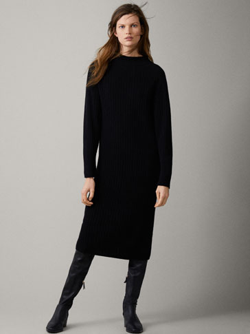 100% CASHMERE RIBBED DRESS - Women - Massimo Dutti