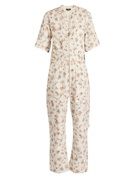 ISABEL MARANT Talma floral-print cotton jumpsuit in ivory / multi