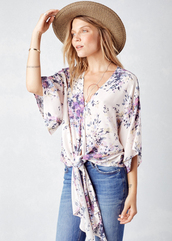 blouse,top,lovestitch,chic,boho,bohemian,flowers,violet,vanilla,kimono sleeves,effortless,floral,periwinkle,tie-front top,elegant