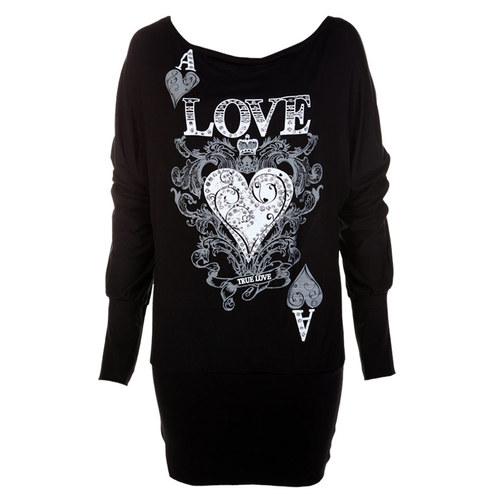 "LADIES BATWING ""ACE LOVE HEART"" GLITTER PRINT WOMENS DRESS TOP JUMPER SIZE 8-14   Amazing Shoes UK"