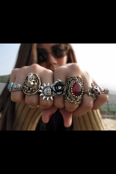 jewels sun silver rings ring flower rubis