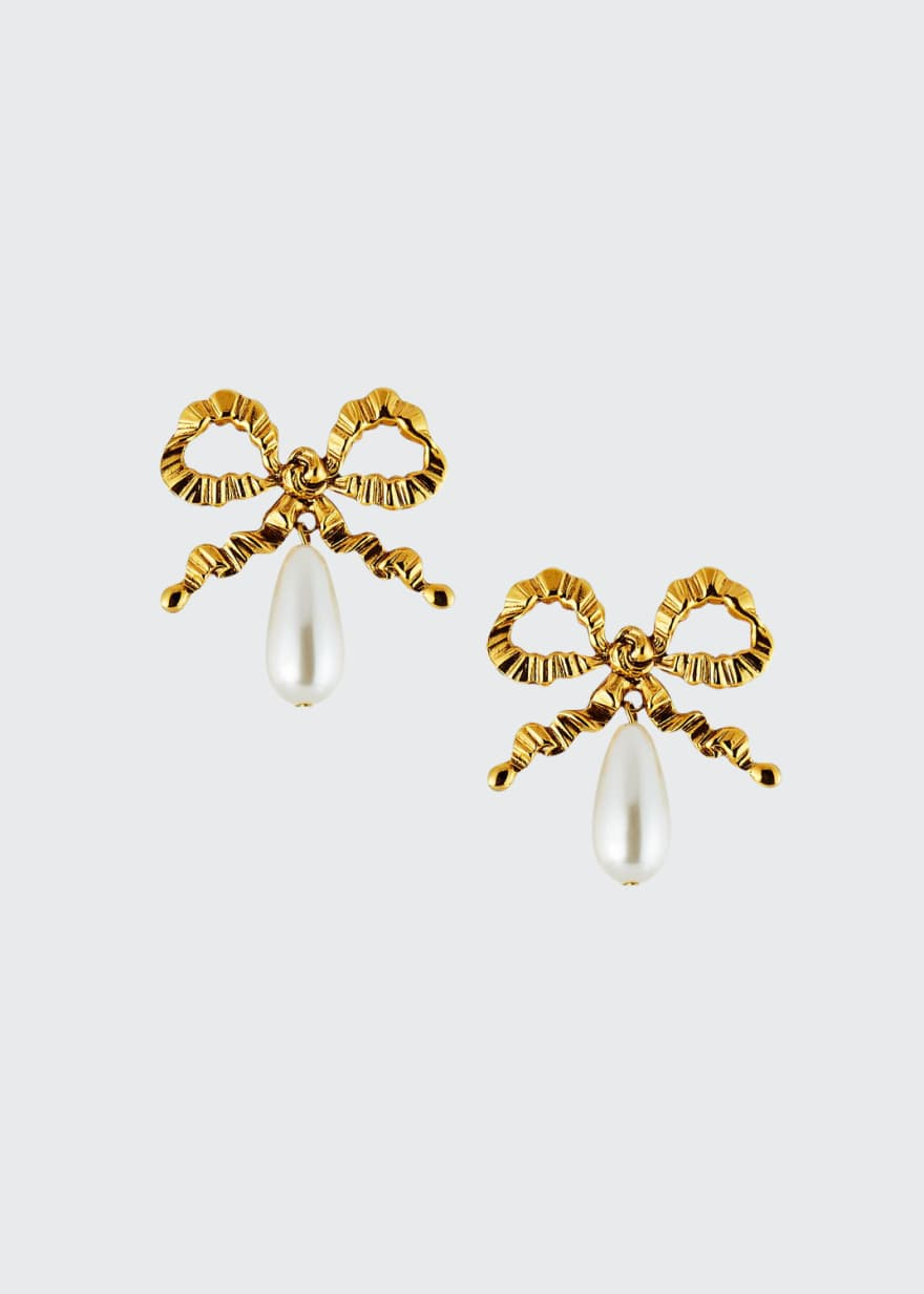 Jennifer Behr Katrina Pearly Bow Earrings - Bergdorf Goodman