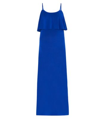 Blue Jersey Strappy Layered Maxi Dress