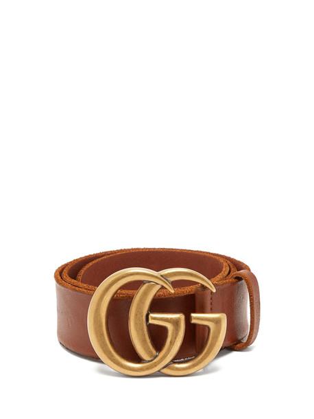 GUCCI GG-logo 4cm leather belt in tan