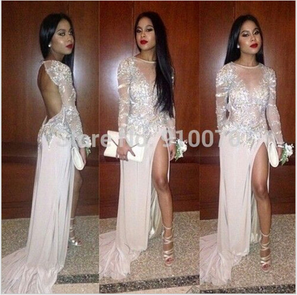 dress prom dress party dress crystals prom dress slit dress backless prom dress long sleeve dress