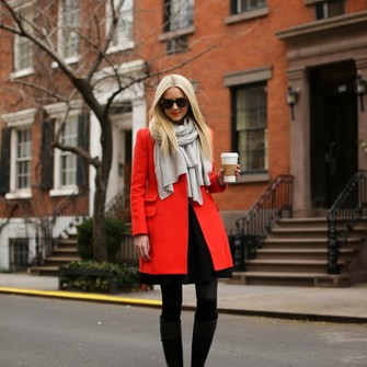 sweater scarf shoes jacket dress atlantic pacific red coat scarf red