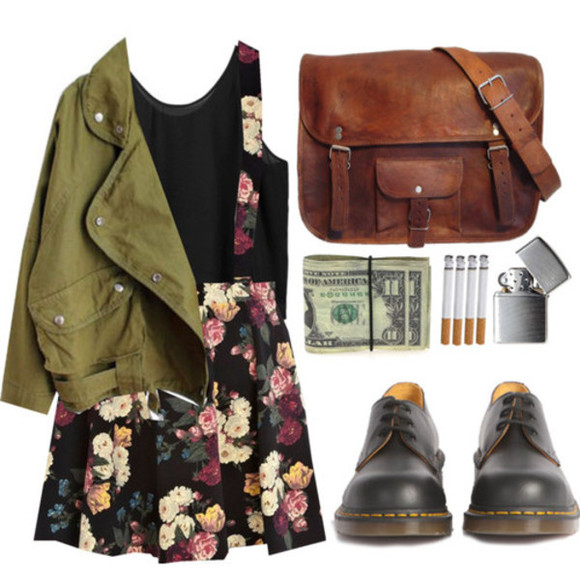 bag grunge black shoes cute coat jacket green jacket leather bag browen leather bag over the shoulder purse zippo floral suspender hipster olive, military, jacket, army style jacket skirt with suspenders