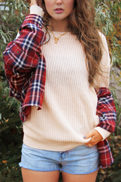 sweater,jumper,knitwear,peach,blush,check,tartan,plaid