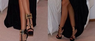 shoes black high heels gold plated gold plated shoe black heels strappy heel