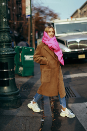 the fashion guitar,blogger,coat,scarf,shoes,jeans,teddy bear coat,winter outfits,sneakers