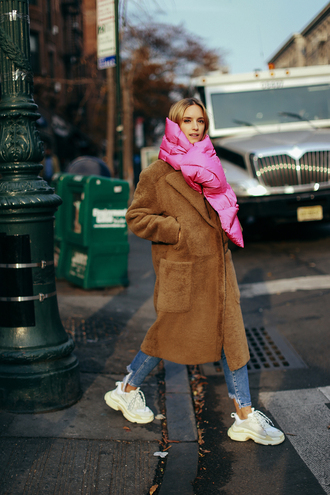the fashion guitar blogger coat scarf shoes jeans teddy bear coat winter outfits sneakers