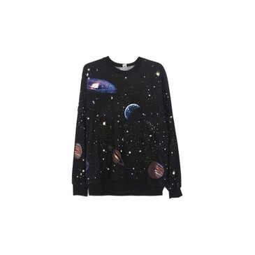 Cosmic space galaxy star print sweatshirt tshirt black from etsy.com