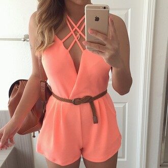 romper ishopcandy.com ishopcandy coral fashion jumpsuit summer outfits summer pink beautiful style instagram ootd jumper ootd heyitsannabanana