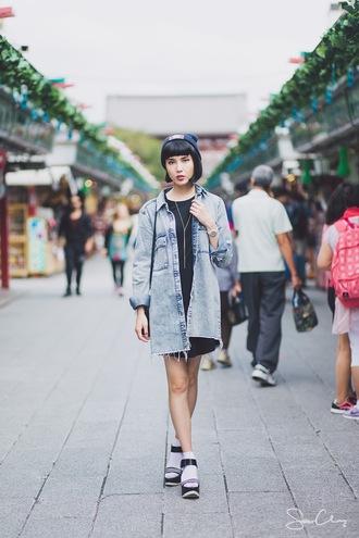 samantha mariko blogger oversized shirt denim shirt