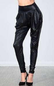 High Foldable Waist Faux Leather Harem Joggers Pants Leggings Pocket s M L | eBay
