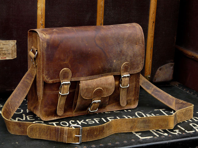 Medium Leather Old School Satchel - Scaramanga Leather Satchels & Messenger Bags. Old Wooden Chests and Trunks