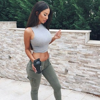 jeans shirt grey crop top grey shirt blouse crop tops grey gray crop top halter top halter neck grey top gray shirt olive green olive green jeans