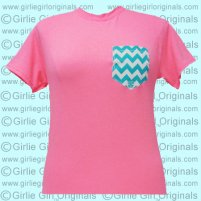 Chevron Printed Pocket - Anvil Neon Pink (Short Sleeve) - $12.99 : Girlie Girl™ Originals - Great T-Shirts for Girlie Girls!