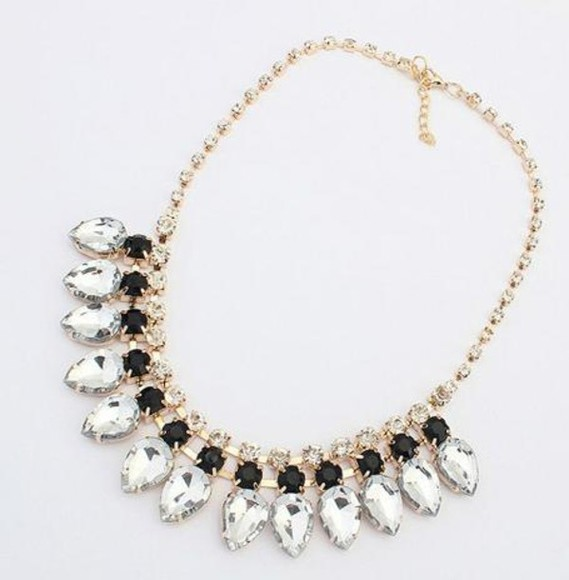cute girly fashion gold jewels necklace statement necklace gorgeous diamond black silver golden