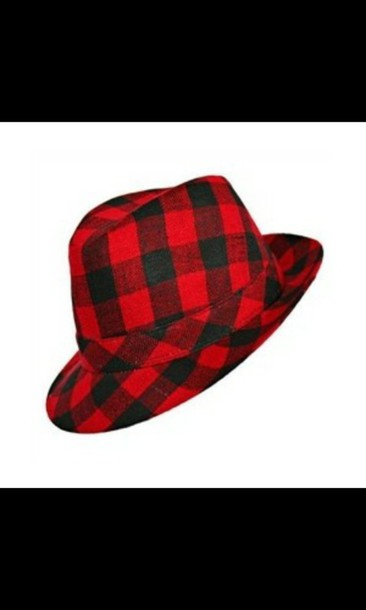 hat red and black plaid