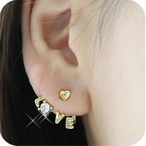 "Korean ""Love""Rhinestone Cute Sweet Lovely Woman's Earrings Ear Studs Stud Gift 