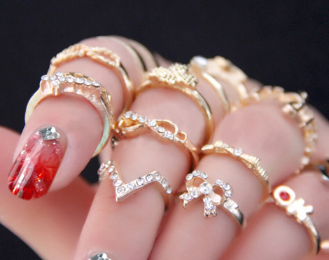 1 Set 7 pcs Midi Finger Stacking Rings