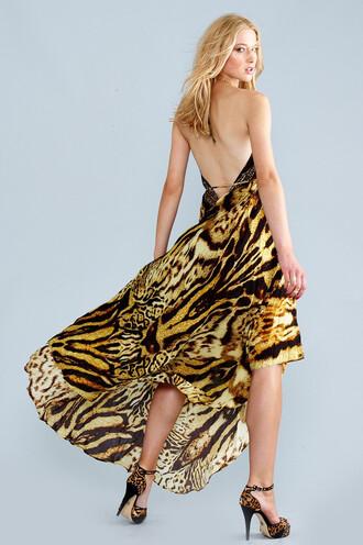 dress silk maxi dress tiger print parides bikiniluxe