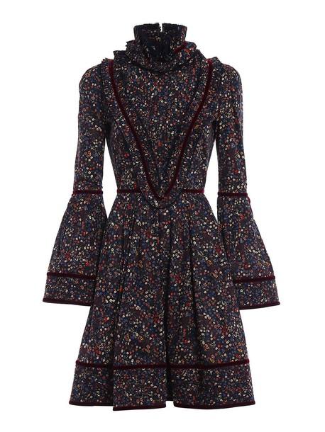 Dsquared2 dress velvet dress floral cotton velvet