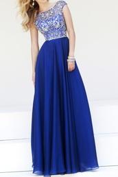 dress,prom dress,blue dress,royal blue dress