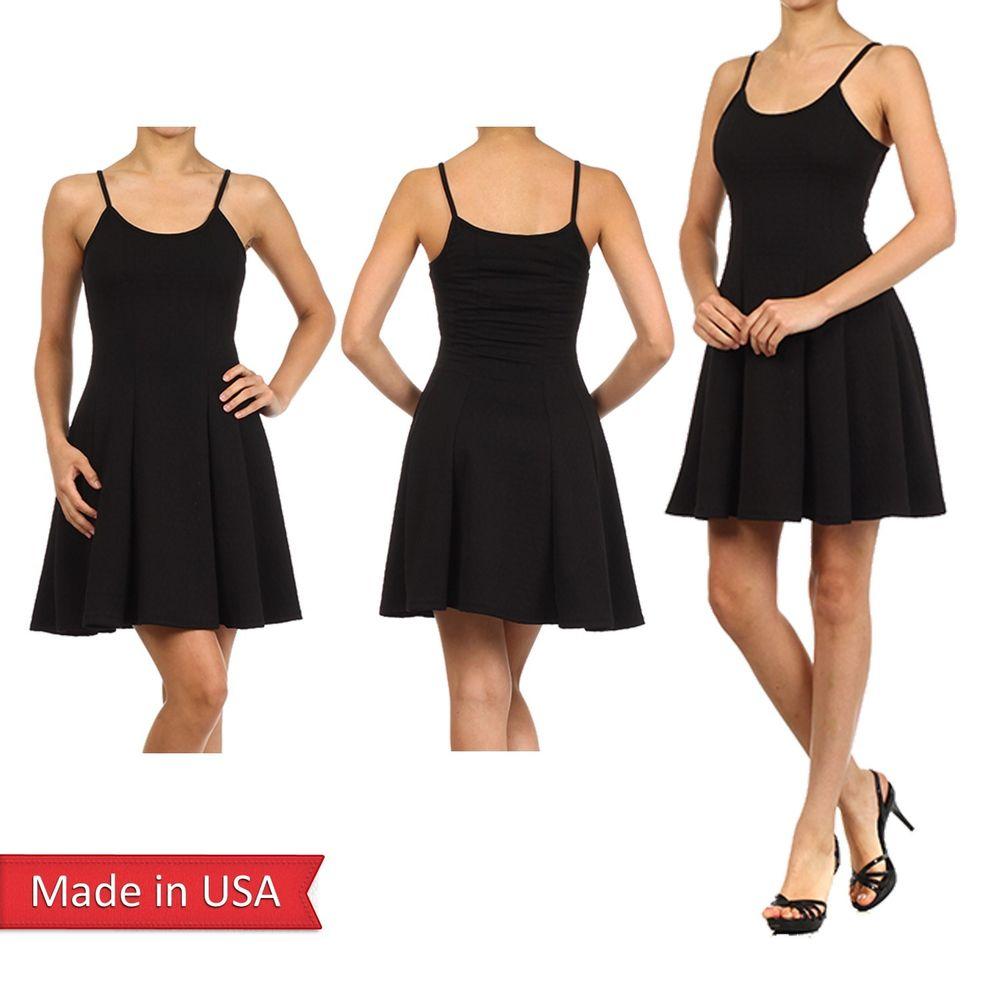 Women Fitted Mini Feminine A Line Spaghetti Strap Black Sexy Elegant Dress USA