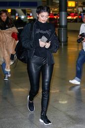 leggings,jacket,kylie jenner,streetstyle,fashion week 2016,NY Fashion Week 2016,sneakers,bomber jacket,Kylie Jenner Sneakers