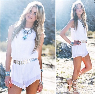 romper white summer cute boho belt sandals lace gold belt style lace romper