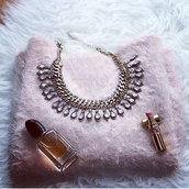 sweater,cold,fluffy,fuzzy sweater,dusty pink,statement necklace