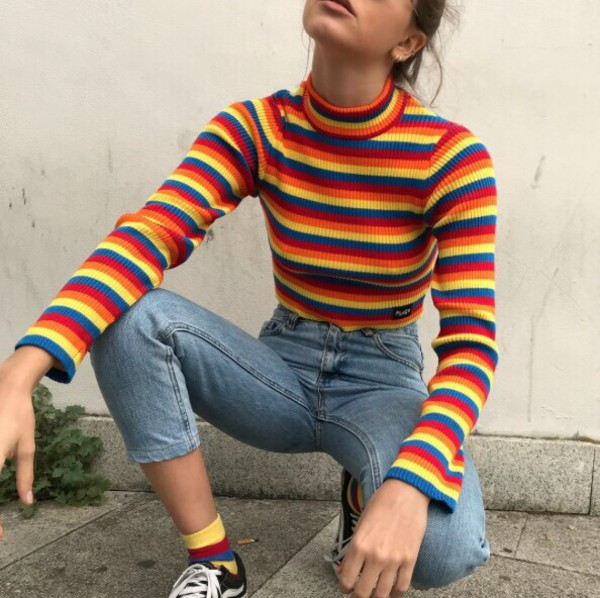 shirt sweater stripes rainbow vintage 70s style vintage sweater 70s inspired turtleneck long sleeves crop cropped vintage pullover cute 90s style 80s style long sleeves t-shirt art hoe tumblr turtleneck top multicolor turtle neck long sleeve blouse long sleeve croptop 1990s entire outfit indie summer winter outfits fall outfits spring striped top