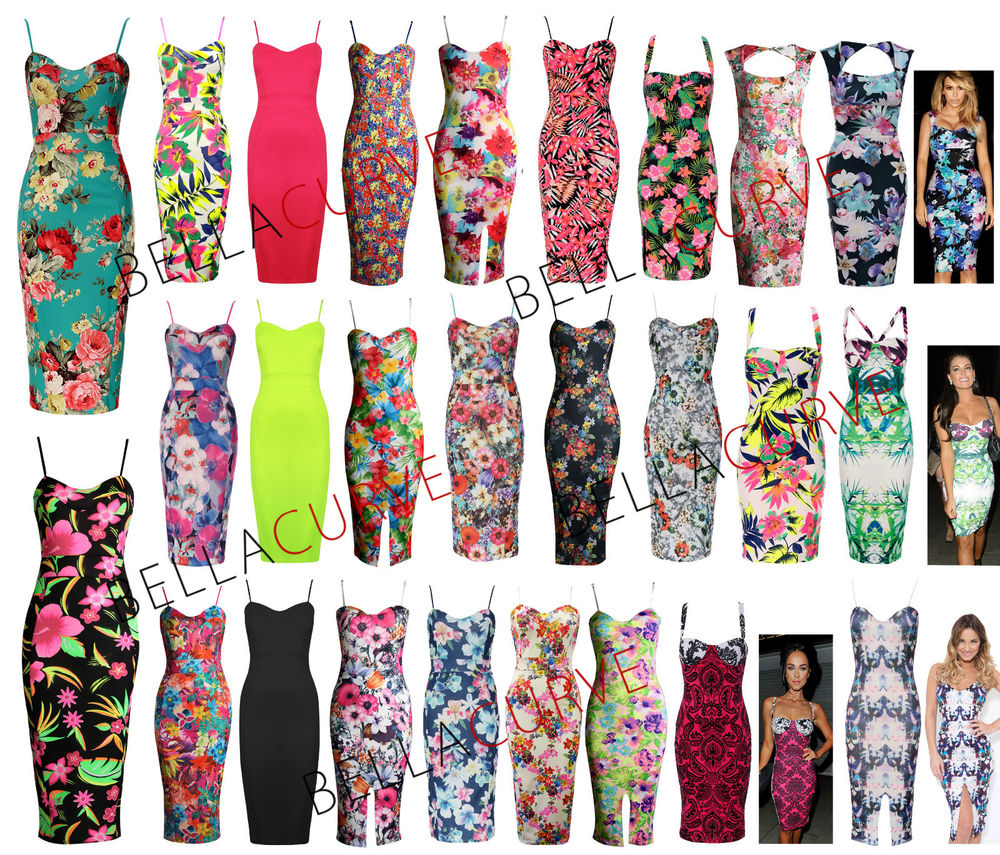 NEW WOMENS CELEBRITY KIM KARDASHIAN NEON FLORAL LADIES BODYCON MIDI DRESS/ 8-14 | eBay