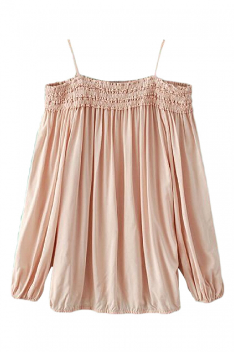 Off-shoulder Pleated Loose Blouse