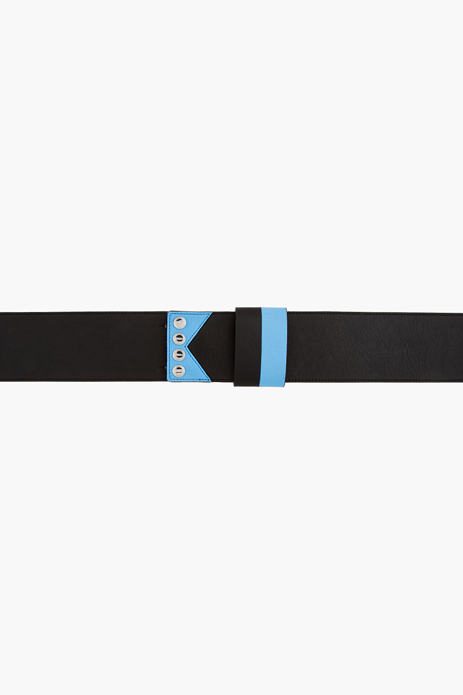 kenzo black and blue leather k belt