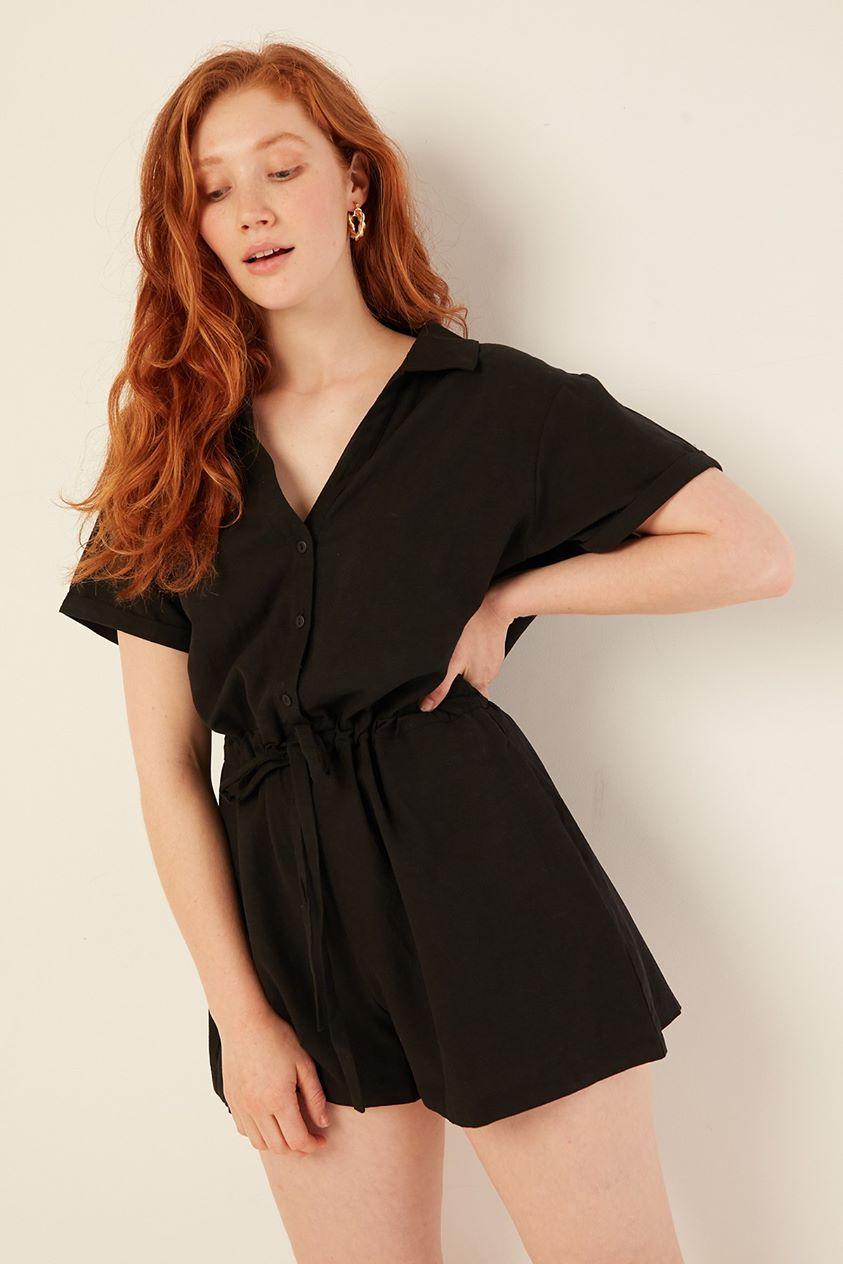 Perfect Stranger Low Key Linen Playsuit Black