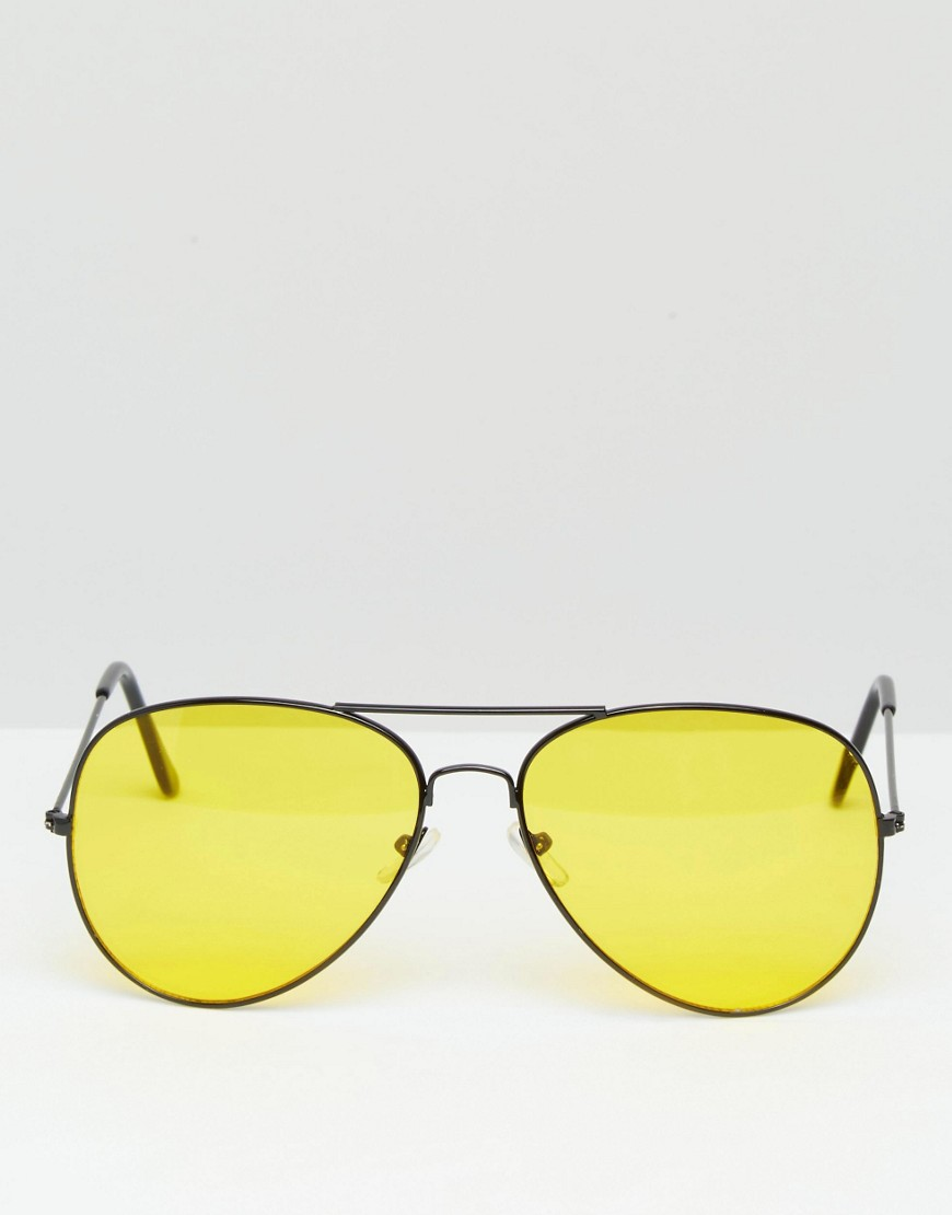 3657c5dcd2ff Reclaimed Vintage Aviator Sunglasses with Yellow Lens at asos.com