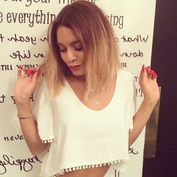 clochettes top white white crop tops crop tops vanessa hudgens summer outfits frange white top dangly bits