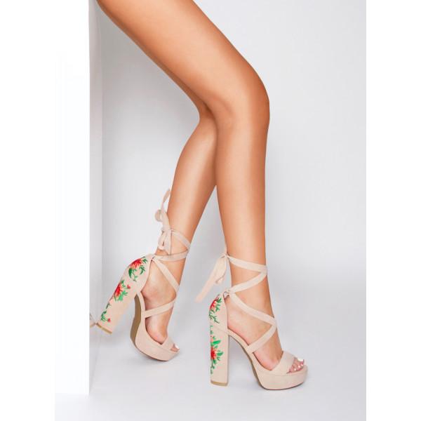 6ef7e9f3a8 Armela Nude Suede Floral Lace Up Platform Heels : Simmi Shoes