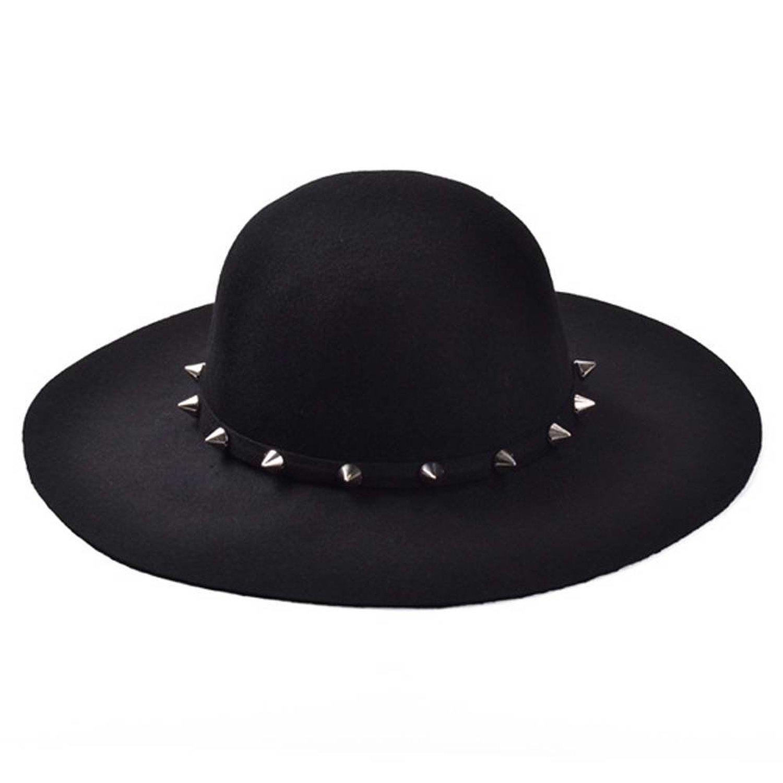 ZLYC Women Fashion Stud Wool Felt Wide Brim Fedora Bowler Hat ... 6b47c013262