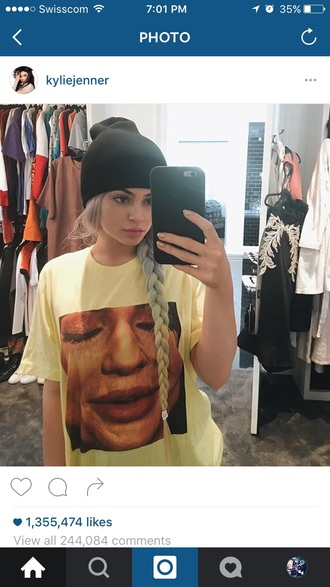 kylie jenner shirt dress yellow sportswear lipstick celine bag celebrity style