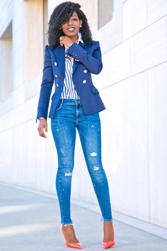 blogger jacket shirt jeans shoes skinny jeans blue jacket blazer striped shirt high heel pumps pumps