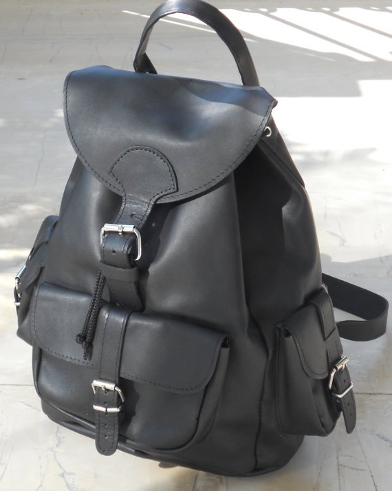 Leather backpack three pockets black by BlueDrop on Etsy