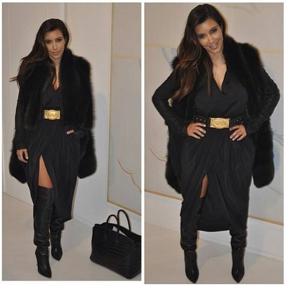 dress kim kardashian little black dress gold waist belt v-neck deep v neck dress