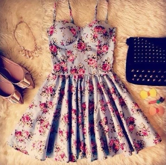 floral dress pink flowers blue straps bustier corsette mini dress retro speghetti strap