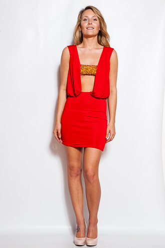 dress trendyish red white black beaded draped sleeveless mini bodycon party open