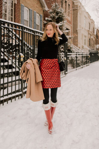 kelly in the city - a preppy chicago life style and fashion blog blogger jewels skirt tank top shoes coat bag socks tights winter outfits wellies